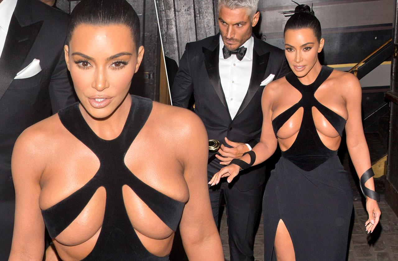 Kim Kardashian Naked Boobs Revealing Black Dress