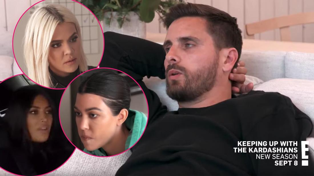 Main Image, Scott Disick wearing a black shirt. Inset, Khloe Kardashian, Kim Kardashian, and Kourtney Kardashian.
