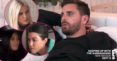 Main Image, Scott Disick wearing a black shirt. Inset, Khloe Kardashian, Kim Kardashian, and Kourtney Kardashian.