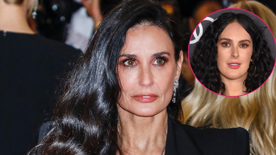 Main, Demi Moore attends Costume Institute Benefit celebrating the opening of Camp: Notes on Fashion. Inset, Rumer Willis.