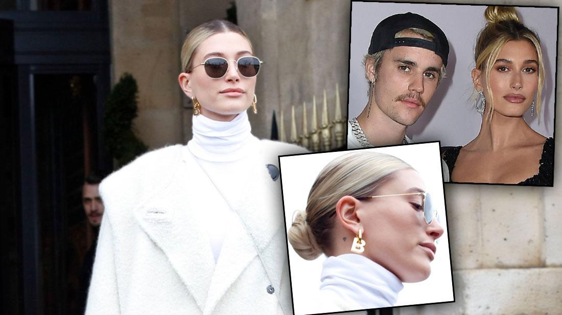 Hailey-Baldwin-Wears-B-For-Bieber-Earrings-Paris-Fashion-Week