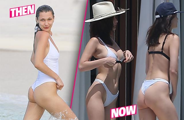 //bella hadid bikini thong butt boobs smoking cigarettes pp