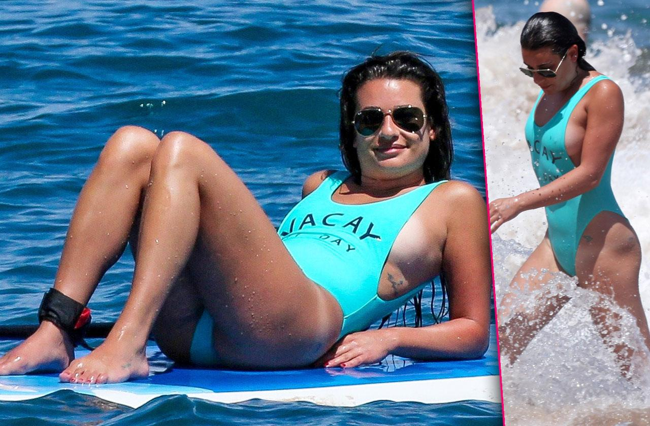 Lea Michele Boobs Butt Bathing Suit Paddle Board Maui