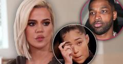 Khloe Kardashian Looking Mad with Insets of Tristan Thompson and a Crying Jordyn Woods