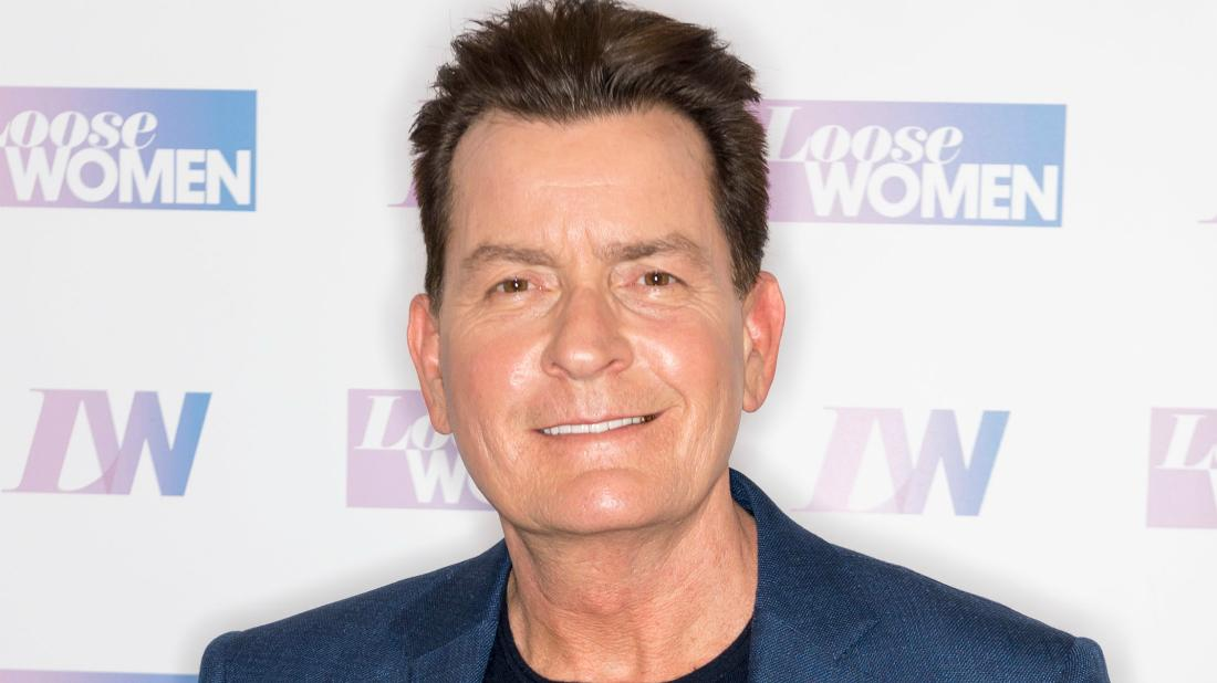 Charlie Sheen was the picture of health as he wore a blue blazer over a navy blue sweater for a London talk show.