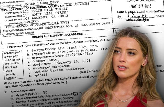 amber heard johnny depp divorce expenses income
