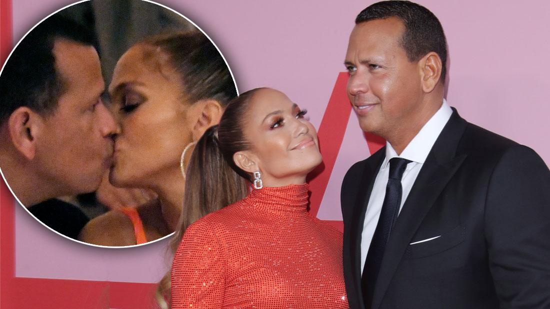 Inset, Alex and Jlo Kissing, Jennifer Lopez Says She Wants To Have Kids With Alex Rodriguez