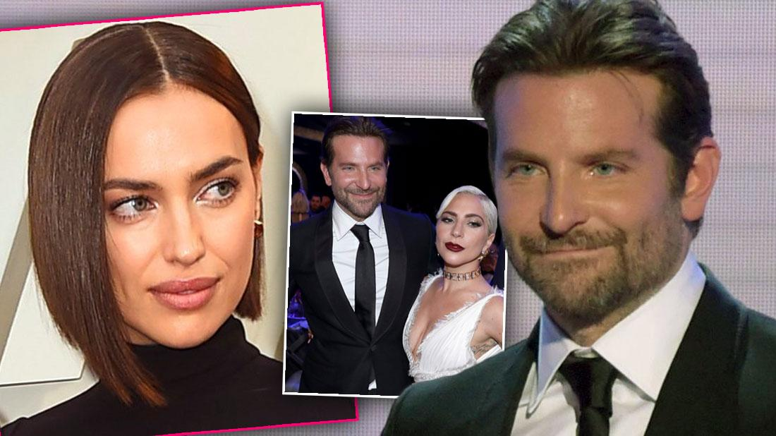 Bradley Cooper on Far Right Wearing Tux, Inset Irina Shayk Looking Right at Inset of Bradley Cooper Wearing Tux and Lady Gaga Wearing White Dress