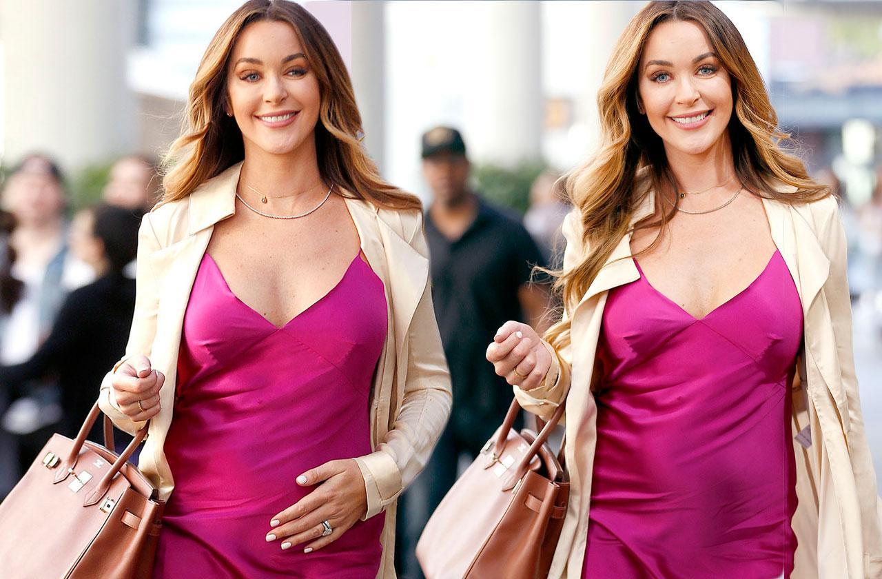 Courtney Sixx Pregnant Baby Bump Pink Dress