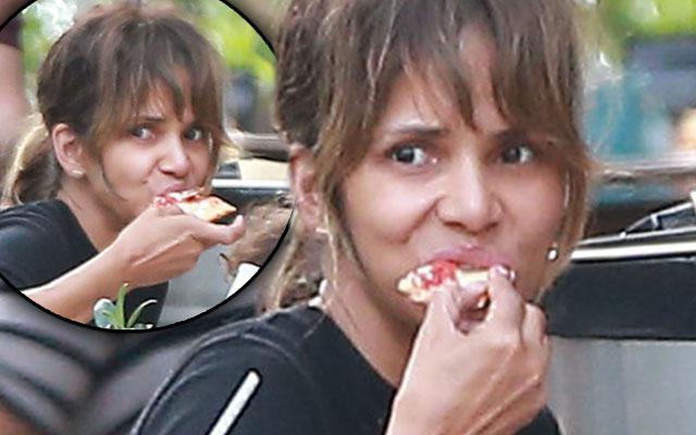 Halle Berry No Makeup Pizza