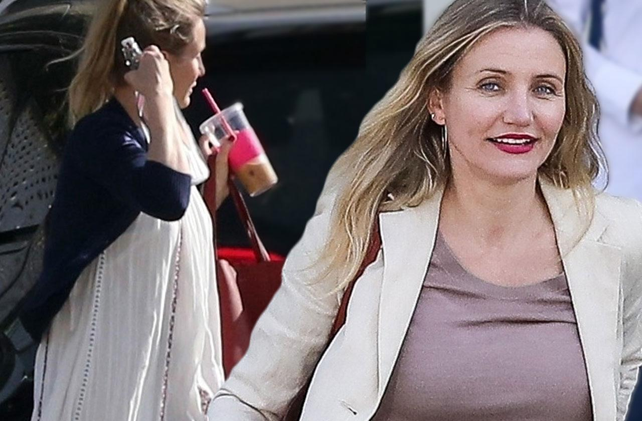 Cameron Diaz Desperately Trying To Hide Baby Bump In Grotesquely Oversized Clothes