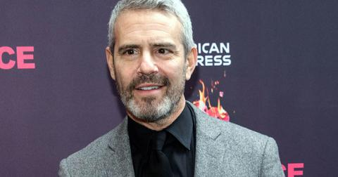 Andy Cohen With Full Beard and Mustache, Wearing Black Shirt and Tie With Gray Heathered Blazer