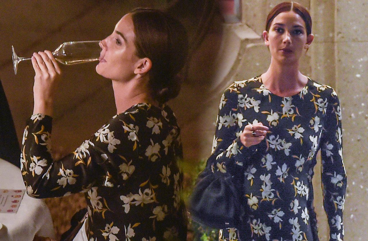 Lily Aldridge Pregnant Drinking Wine