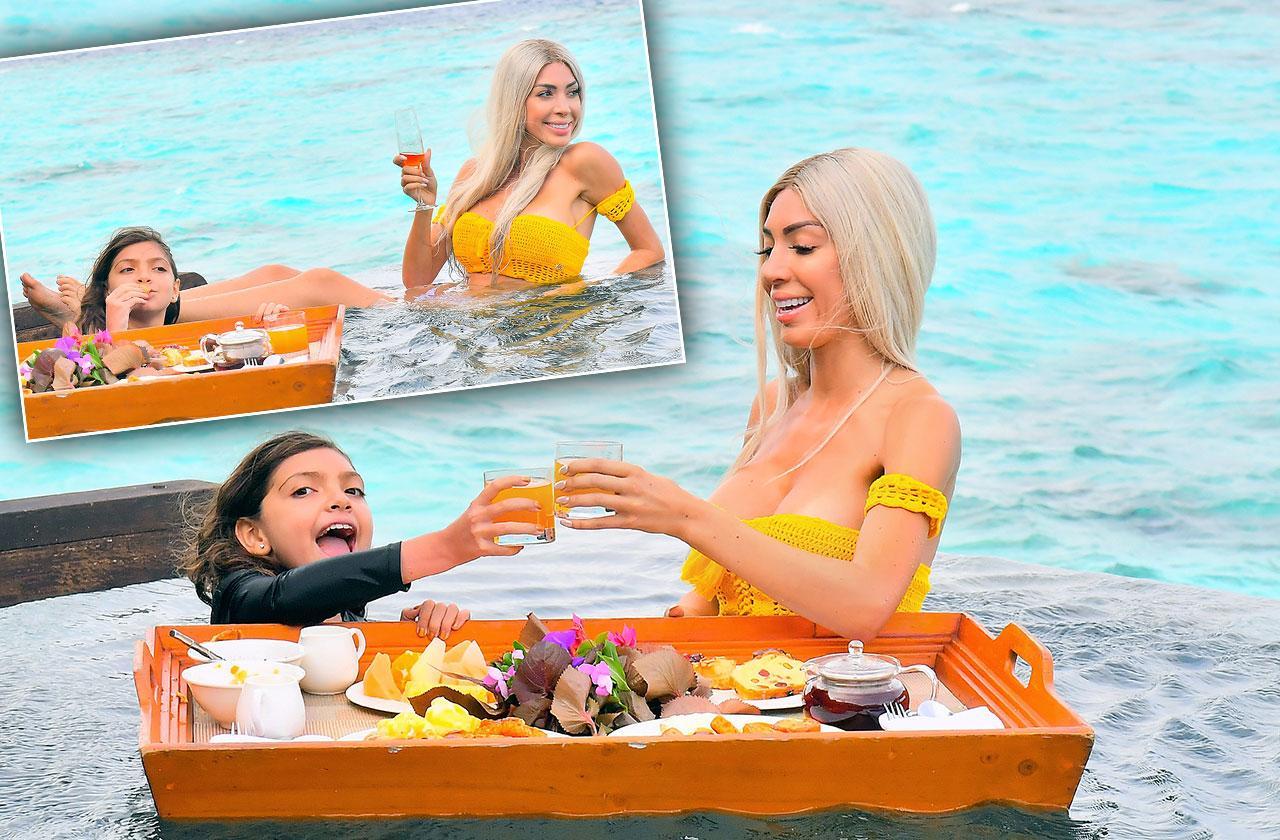 Farrah Abraham Bikini Floating Breakfast Daughter