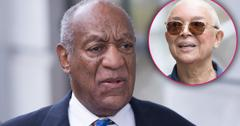Bill Cosby Closeup In Suit Looking Upset with Inset of Camille Cosby Wearing Sunglasses