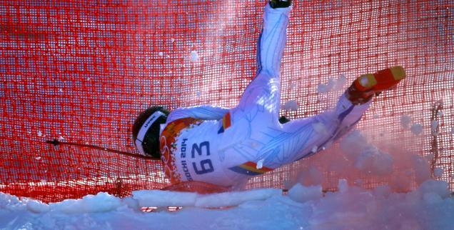 //broken leg head first crash skating fall at sochi olympics