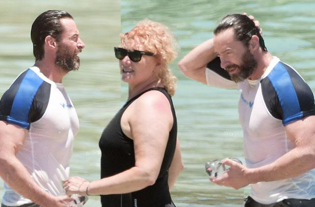 //hugh jackman shirtless wife deborra lee furness swimsuit caribbean pp