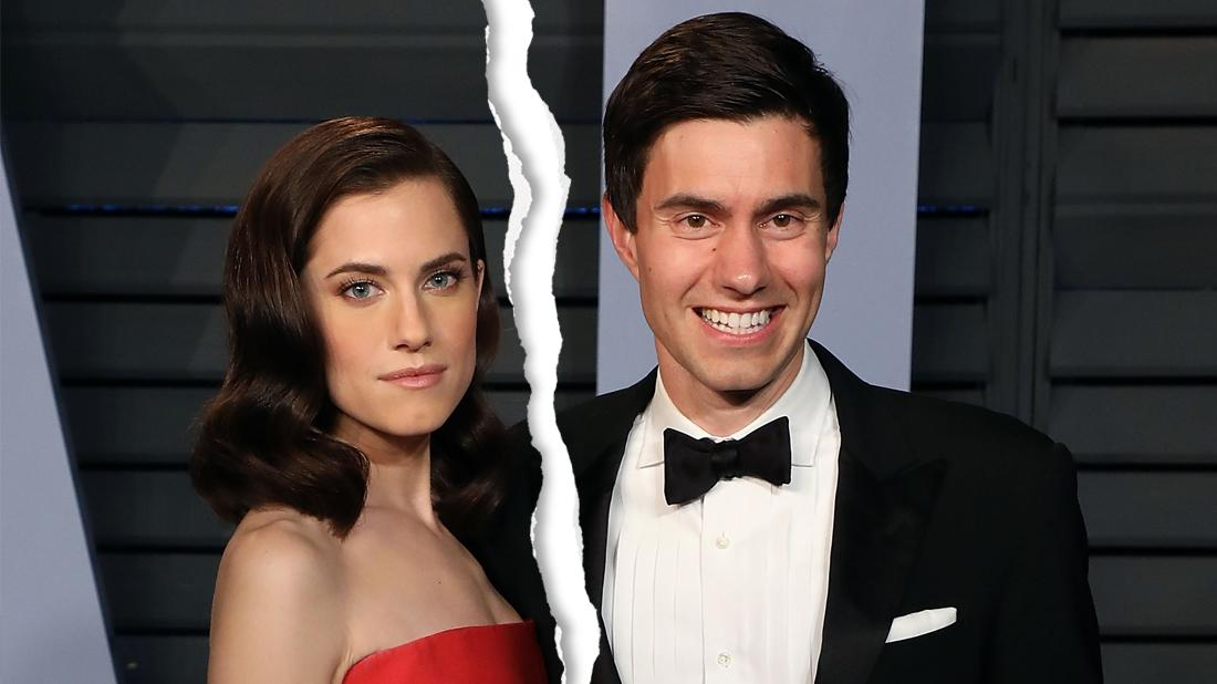Allison Williams In Red Gown with Husband Ricky Van Veen in Tuxedo
