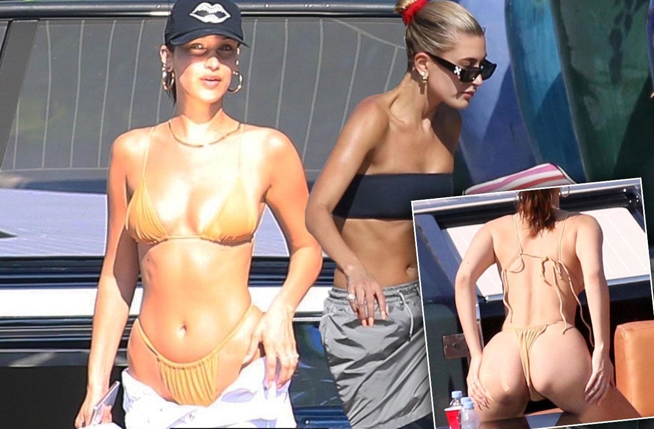 Bella Hadid Bikini Butt Hailey Baldwin