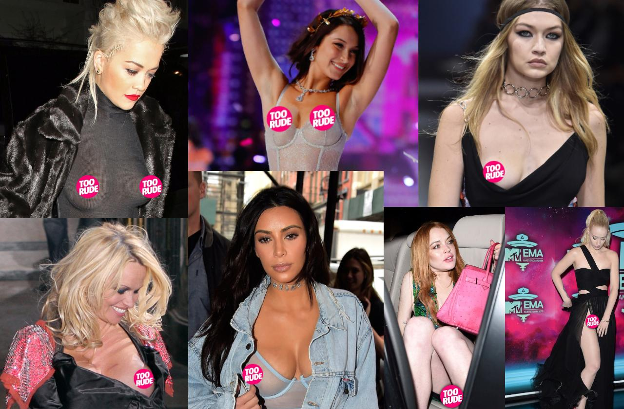 the best celebrity wardrobe malfunctions and nip slips of all time featuring Rita Ora, Bella Hadid, Gigi Hadid, Pamela Anderson, Kim Kardashian, Lindsay Lohan, and Iggy Azalea