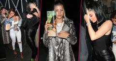 Kylie Jenner in All Black Covering Face and Sofia Richie