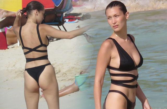 //bella hadid bikini thong butt st barths pp