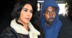 Split of Kim Kardashian Wearing Sheepskin Coat looking Right, Kanye West in Blue Hoodie Looking Straight Ahead Eyes Wide