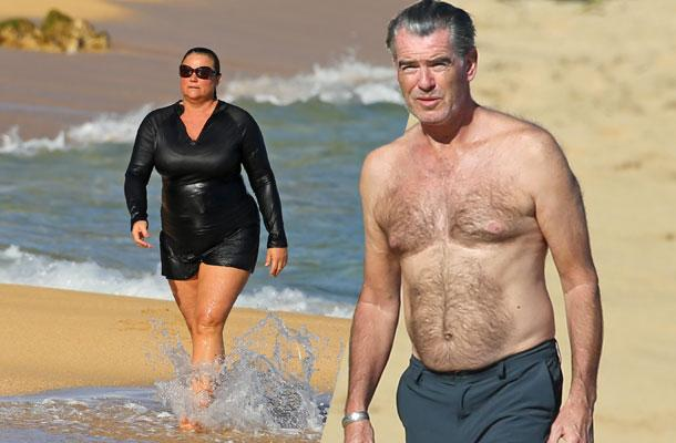 //pierce brosnan shirtless keely shaye smith bikini beach pp