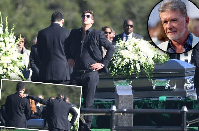 Alan Thicke Memorial Robin Thicke Casket Crying