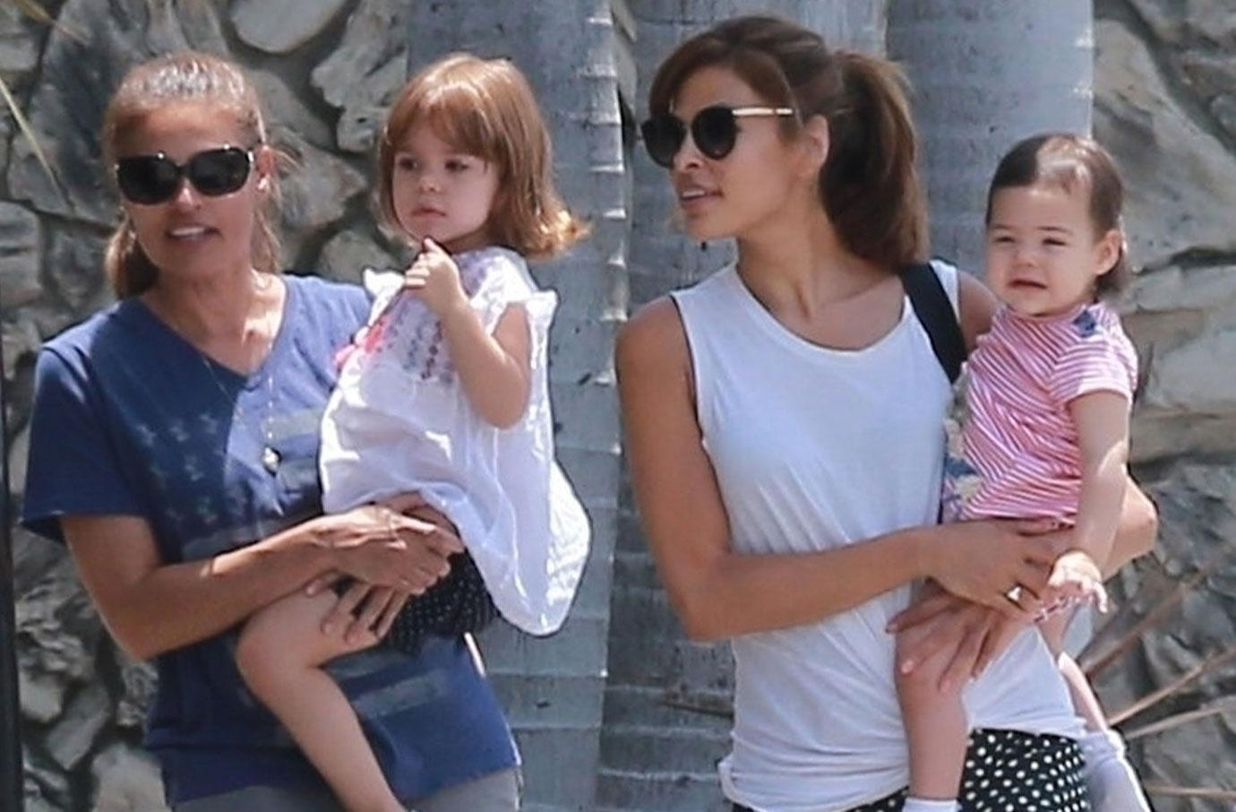 Eva Mendes Takes Daughters Out For Summer Stroll
