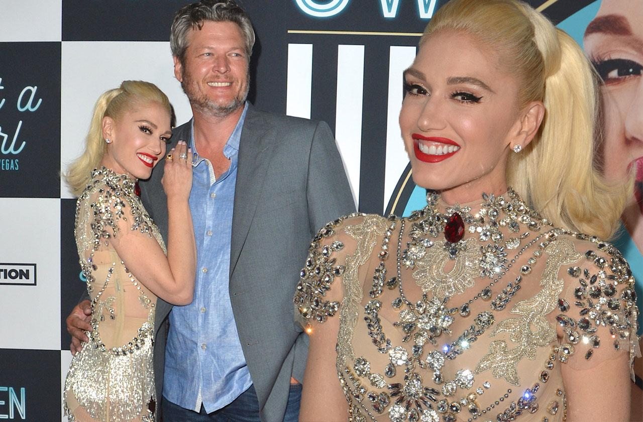 Gwen Stefani Nude Dress Blake Shelton