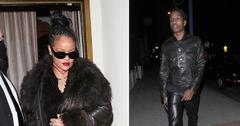 rihanna and asap rocky leaving drakes private party