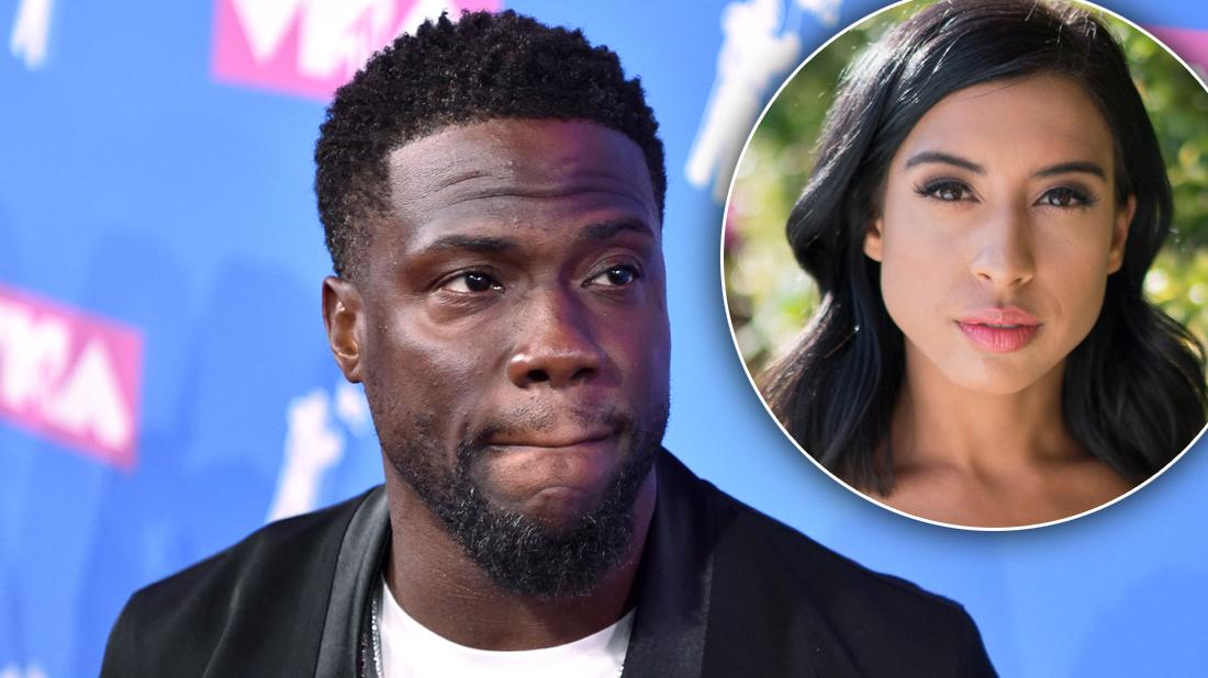 Kevin Hart Closeup Looking Guilty With Inset of Sex Tape Partner Montia Sabbag looking Unhappy Suffered Bullying and Depression