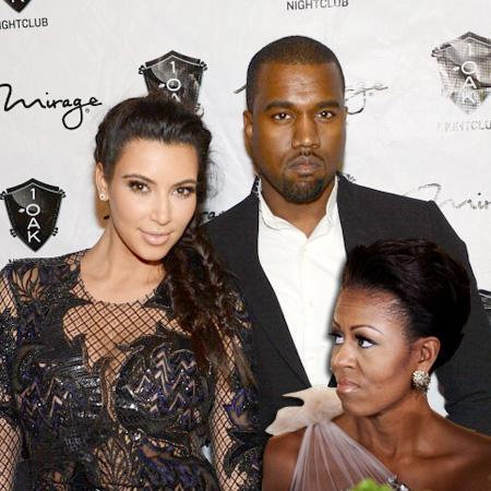 // kim kardashian and kanye west arrive for the gettyimages