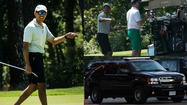 Barack Obama Golf Vacation Motorcade Clogs Street