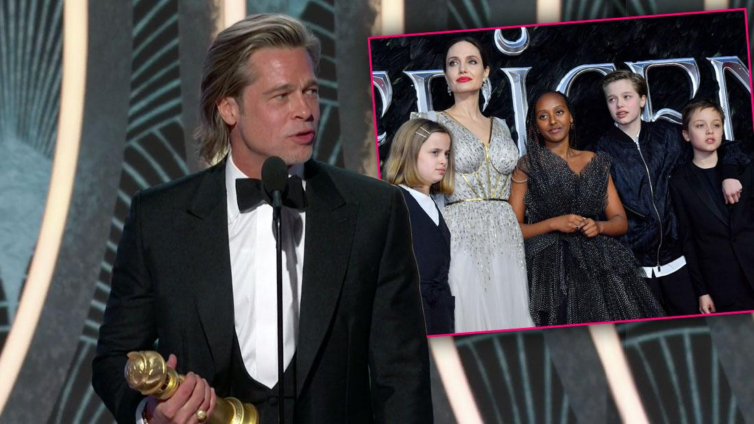 Brad Pitt on stage plus inset of Angelina Jolie with Some of Their Kids, Brad Pitt Snubs Kids In 2020 Golden Globes Speech