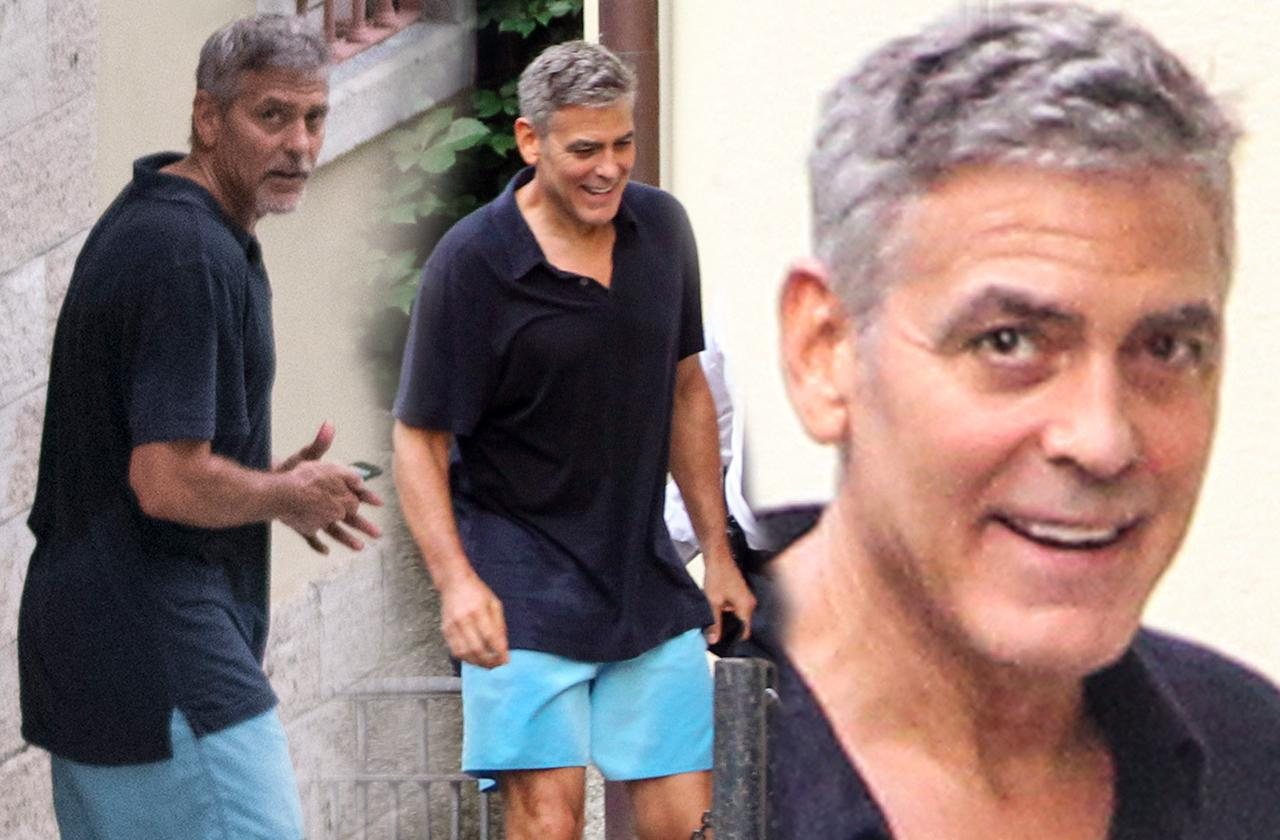 //george clooney tired exhausted twins birth pp