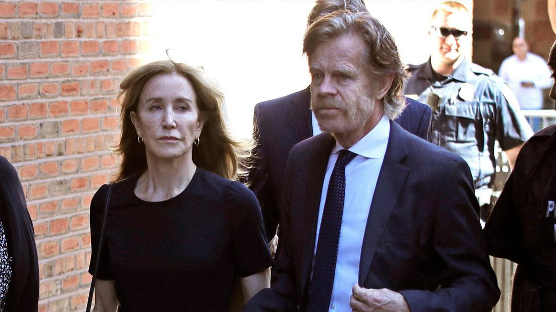 Felicity Huffman arrives at federal court with her husband William H. Macy for sentencing in a nationwide college admissions bribery scandal