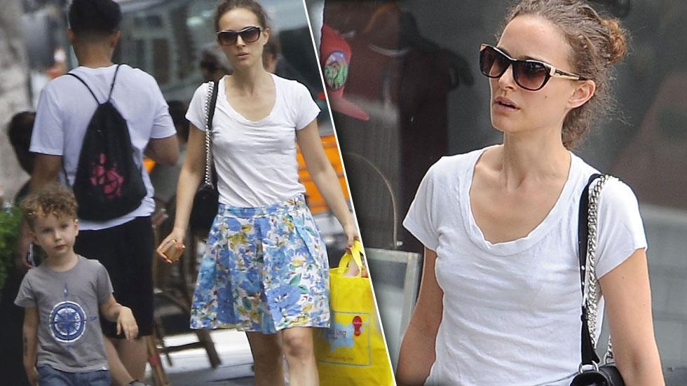 Natalie Portman No Makeup Braless Husband & Son