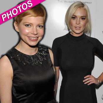 //michelle williams lindsay lohan weinstein company getty