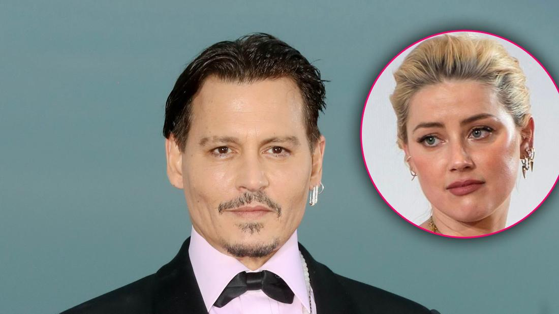 Johnny Depp Smiling After Settles Malpractice Suit and Inset of Unbothered Amber Heard as He Gears Up For A Defamation Suit Against Her