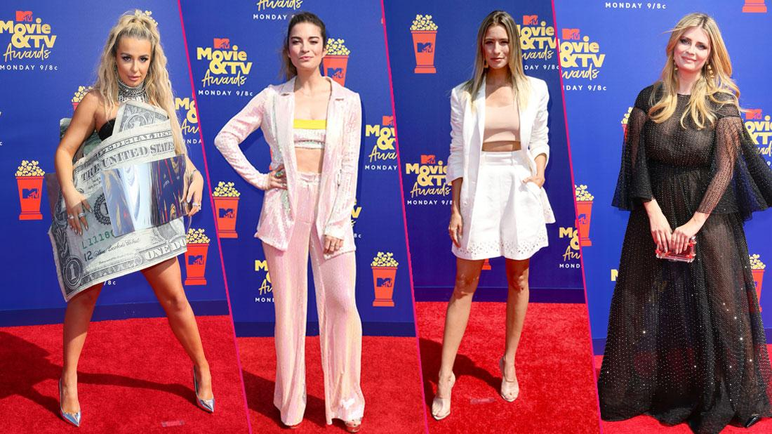 Left, Tana Mongeau wears a dress that looks like a dollar bill. Left center, Annie Murphy wears pink pajamas. Right center, Renee Bargh wears a white skirt and a pink top. Right, Mischa Barton wears a black dress.