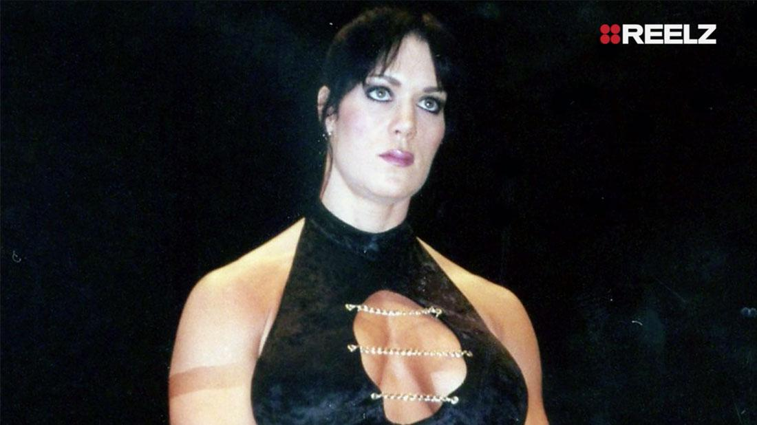 WWE Star Chyna, also known as Joan Marie Laurer, wears her wrestler ensemble in this shot.