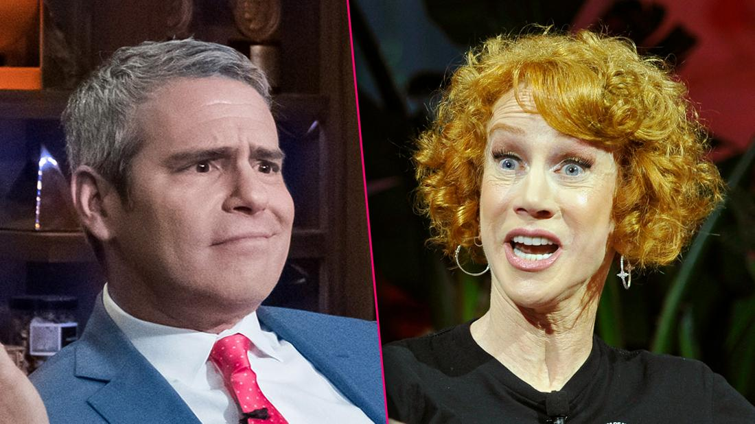 Andy Cohen Closeup Looking Annoyed and Kathy Griffin Closeup Looking Angry Mid Yelling