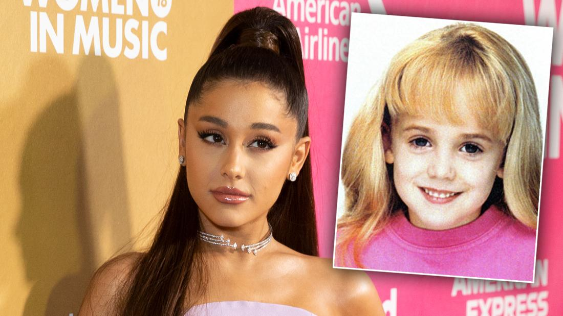 Ariana Grande Closeup Looking Serious With High Pony Tail and Pink Dress With Inset of JonBenet Ramsey in Pink Shirt Smiling