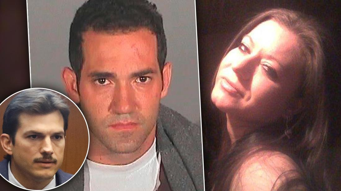 Michael Gargiulo Mugshot Inset of Amber Touchton Smiling with Inset of Ashton Kutcher Looking Serious In Court
