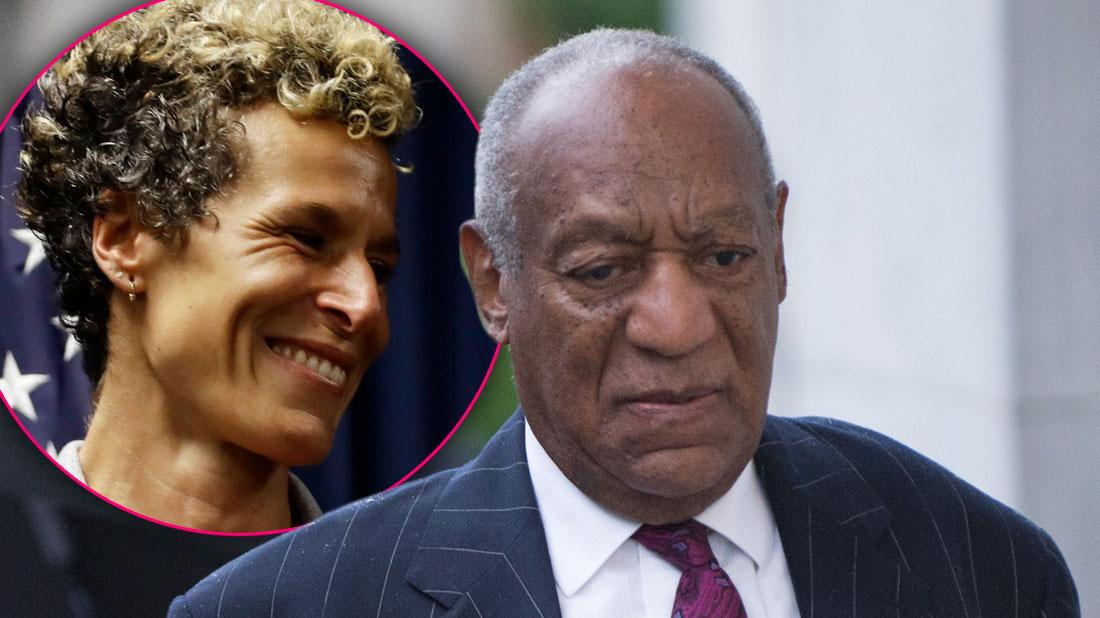 Inset Smiling Andrea Constand, Sad Bill Cosby Weraing Suit