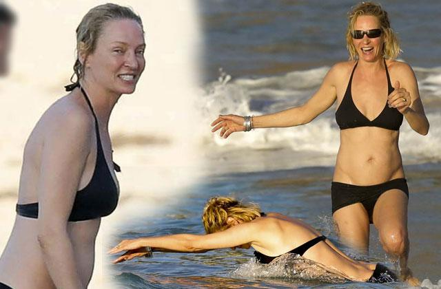 //uma thurman bikini boobs butt beach guyspp
