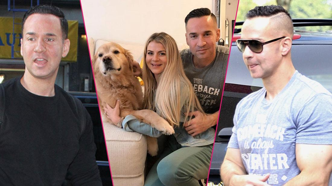 Left,Michael The Situation Sorrentino 'Good Day NY' TV show;Center, The Situation's dog, Lauren Sorrentino, and The Situation; right, First pics of Mike 'The Situation' Sorrentino just hours after he was released from a Federal Correction Facility in Otisville.