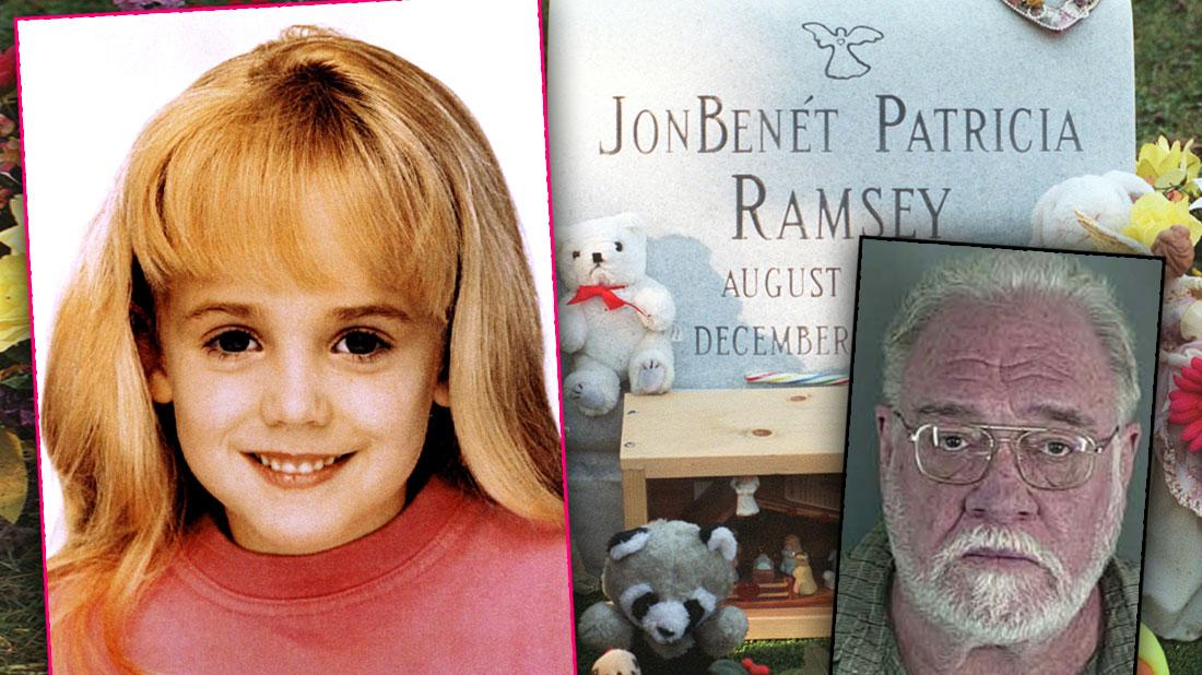 Inset Of JonBenet Ramsey in Pink Sweatshirt, Her Grave Stone Surrounded By Teddy Bears and Inset of Randall DeWitt Simons' Mugshot